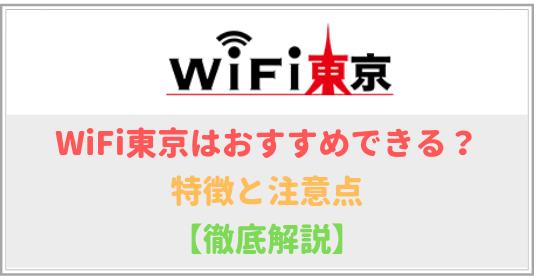 WiFi東京の特徴と注意点、メリットとデメリットを詳しく解説!