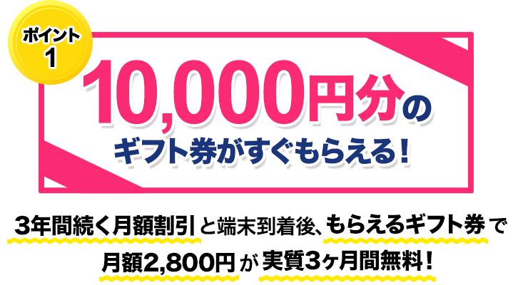 申込後すぐにAmazonギフト券1万円がもらえる