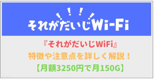 それがだいじWiFiの特徴と注意点を詳しく解説!【月額3,250円で150G】