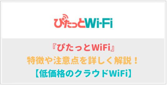 ぴたっとWiFiの特徴や注意点を詳しく解説!【月額2,000円~】