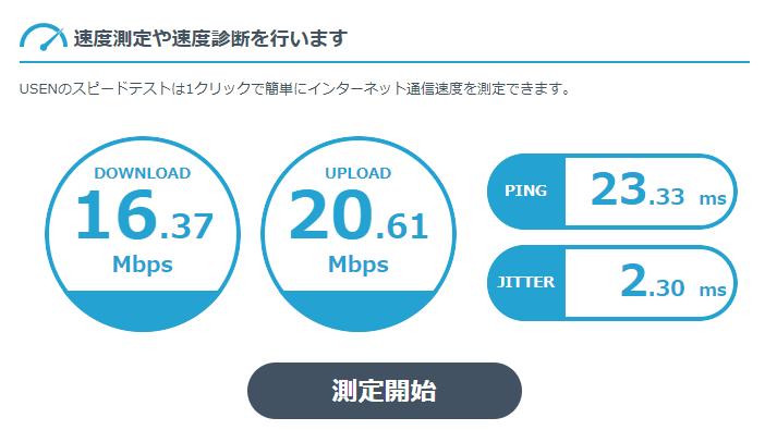 USEN インターネット回線スピードテスト